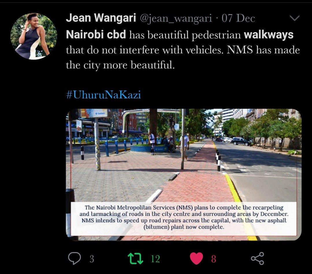 A tweet from Jean wangari concerning the pedestrian walkways in Nairobi CBD.